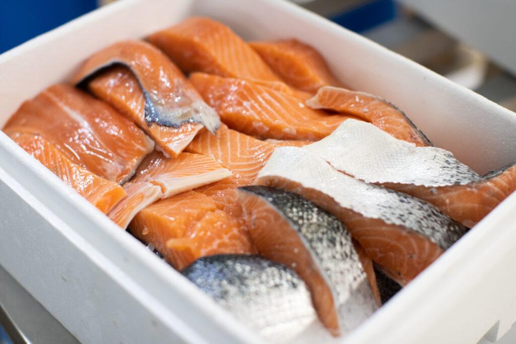 salmon fillet in box fresh good